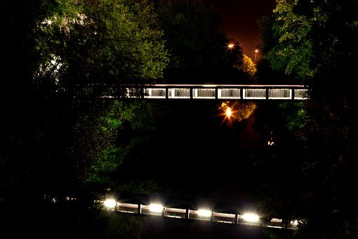 Bridge, Night, Street Lamp, Lighting
