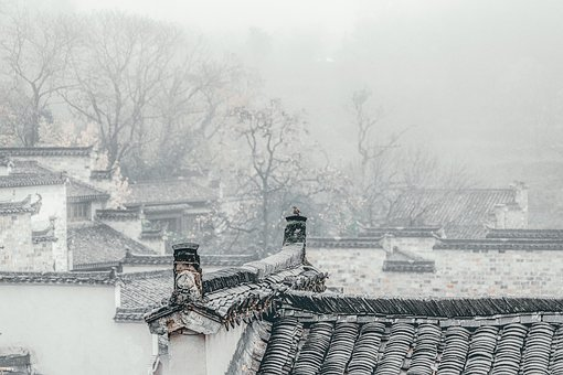 Village, Roofs, Fog, Mist, Houses