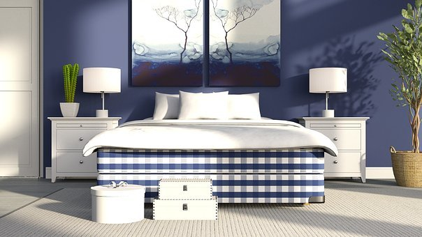Bed, Plaid, Pattern, Bedside Table, Lamp
